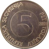 obverse of 5 Tolarjev (1992 - 2006) coin with KM# 6 from Slovenia. Inscription: REPUBLIKA SLOVENIJA PET TOLARJEV 5 2000