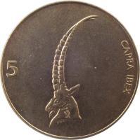 reverse of 5 Tolarjev (1992 - 2006) coin with KM# 6 from Slovenia. Inscription: CAPRA IBEX 5