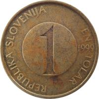 obverse of 1 Tolar (1992 - 2006) coin with KM# 4 from Slovenia. Inscription: REPUBLIKA SLOVENIJA EN TOLAR 1 2000