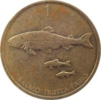 reverse of 1 Tolar (1992 - 2006) coin with KM# 4 from Slovenia. Inscription: SALMO TRUTTA FARIO 1