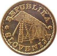 obverse of 0.02 Lipe - Lipa Holding, Ljubljana Series (1992) coin with X# Tn5 from Slovenia. Inscription: REPUBLIKA SLOVENIJA