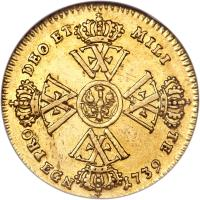 reverse of 1/2 Wilhelm d'Or - Friedrich Wilhelm I - Trade Coinage (1738 - 1740) coin with KM# 221 from German States. Inscription: PRO DEO ET MILI TE EGN 1739