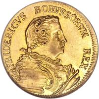 obverse of 1/2 Friedrich d'Or - Friedrich II - Trade Coinage (1749) coin with KM# 240 from German States. Inscription: FRIDERICVS BORVSSORVM REX