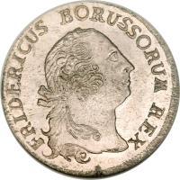 obverse of 1/3 Reichsthaler - Friedrich II (1758 - 1759) coin with KM# 285 from German States. Inscription: FRIDERICUS BORUSSORUM REX