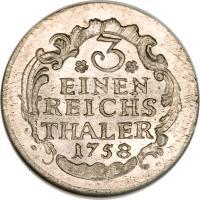 reverse of 1/3 Reichsthaler - Friedrich II (1758 - 1759) coin with KM# 285 from German States. Inscription: 3 EINEN REICHS THALER 1758