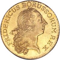 obverse of 1 Friedrich d'Or - Friedrich II - Trade Coinage (1764 - 1775) coin with KM# 309 from German States. Inscription: FRIDERICUS BORUSSORUM REX