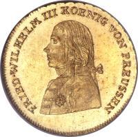 obverse of 1 Friedrich d'Or - Friedrich Wilhelm III - Trade Coinage (1797 - 1798) coin with KM# 369 from German States. Inscription: FRIED WILHELM III KOENIG VON PREUSSEN