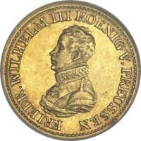 obverse of 1/2 Friedrich d'Or - Friedrich Wilhelm III - Trade Coinage (1817) coin with KM# 397 from German States. Inscription: FRIEDR.WILHELM III KOENIG V. PREUSSEN
