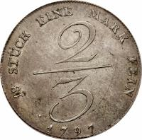 reverse of 2/3 Reichsthaler - Friedrich Wilhelm II (1796 - 1801) coin with KM# 363 from German States.
