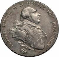 obverse of 1 Conventionsthaler - Friedrich Wilhelm II (1795) coin with KM# 361 from German States. Inscription: FRIEDR: WILHELM II KOENIG VON PREUSSEN