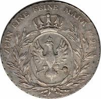 reverse of 1 Conventionsthaler - Friedrich Wilhelm II (1795) coin with KM# 361 from German States. Inscription: ZEHN EINE FEINE MARK 1795