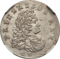 obverse of 6 Gröscher - Friedrich I (1702 - 1709) coin with KM# 21 from German States. Inscription: FRIDERICUS REX