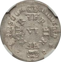 reverse of 6 Gröscher - Friedrich I (1702 - 1709) coin with KM# 21 from German States. Inscription: SUUM CUIQUE VI 17 04