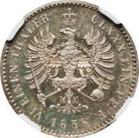 reverse of 1/6 Vereinsthaler - Friedrich Wilhelm IV (1858 - 1860) coin with KM# 473 from German States. Inscription: VI EINEN THALER CLXXX EIN PF. F. 1859