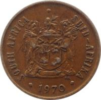 obverse of 2 Cents - SOUTH AFRICA - SUID AFRIKA (1970 - 1990) coin with KM# 83 from South Africa. Inscription: SOUTH AFRICA SUID AFRIKA 1978 T.S. T.S.