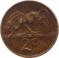 reverse of 2 Cents - SOUTH AFRICA - SUID AFRIKA (1970 - 1990) coin with KM# 83 from South Africa. Inscription: 2c JVZ