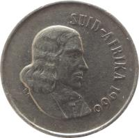 obverse of 10 Cents - SUID-AFRIKA (1965 - 1969) coin with KM# 68.2 from South Africa. Inscription: SUID-AFRIKA 1965 T.S.