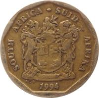 obverse of 20 Cents - SOUTH AFRICA - SUID-AFRIKA (1990 - 1995) coin with KM# 136 from South Africa. Inscription: SOUTH AFRICA · SUID-AFRIKA EX UNITATE VIRES 1993 ALS