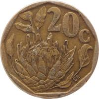 reverse of 20 Cents - SOUTH AFRICA - SUID-AFRIKA (1990 - 1995) coin with KM# 136 from South Africa. Inscription: 20c SE