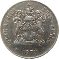 obverse of 50 Cents - SOUTH AFRICA - SUID-AFRIKA (1970 - 1990) coin with KM# 87 from South Africa. Inscription: SOUTH AFRICA · SUID-AFRIKA EX UNITATE VIRES 1977 T.S.