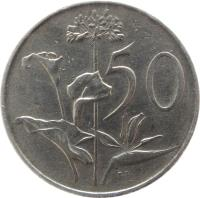 reverse of 50 Cents - SOUTH AFRICA - SUID-AFRIKA (1970 - 1990) coin with KM# 87 from South Africa. Inscription: 50 T.S.