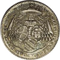 obverse of 1/8 Thaler - August Philipp - Death of Franz Christoph (1770) coin with KM# 66 from German States. Inscription: FRANC.CHRISTOPH.S.R.E.PR.CARD.AB.HVTTEN.EP.SP.P.W&.O.SR.I.P.