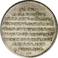 reverse of 1/8 Thaler - August Philipp - Death of Franz Christoph (1770) coin with KM# 66 from German States. Inscription: NATVS 6.MAR.1706 EL.EP.SPIR.&.PRAEPOS. WEISSENB.14.NOV.1743 PRAEP.ODENH.16.IVN.1763 CR.IN.CARD.23.NOV1761 DENAT.20.APRIL.1770 AETAT.