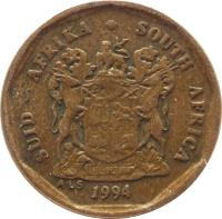 obverse of 10 Cents - SUID-AFRIKA - SOUTH AFRICA (1990 - 1995) coin with KM# 135 from South Africa. Inscription: SUID-AFRIKA · SOUTH AFRICA EX UNITATE VIRES ALS 1992