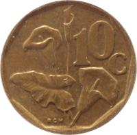 reverse of 10 Cents - SUID-AFRIKA - SOUTH AFRICA (1990 - 1995) coin with KM# 135 from South Africa. Inscription: 10c RCM