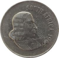 obverse of 10 Cents - SOUTH AFRICA (1965 - 1969) coin with KM# 68.1 from South Africa. Inscription: SOUTH AFRICA 1965