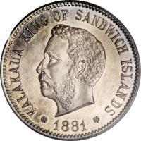 obverse of 5 Cents - Kalākaua (1881) coin with KM# 2 from Hawaii. Inscription: KALAKAUA KING OF SANDWICH ISLANDS 1881