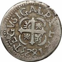 reverse of 2 Reales (1823) coin with KM# 12.1 from Honduras. Inscription: TEGVSIGALPA LA 1823