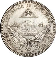 obverse of 1 Real (1869) coin with KM# Pn9 from Honduras.