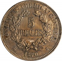 reverse of 5 Reales (1870) coin with KM# Pn12 from Honduras.