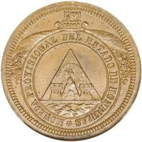 obverse of 1 Peso (1862) coin with KM# Pn1 from Honduras. Inscription: MONEDA PROVISIONAL DEL ESTADO DE HONDURAS *