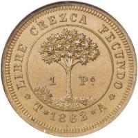 reverse of 1 Peso (1862) coin with KM# Pn1 from Honduras. Inscription: *LIBRE CREZCA FECUNDO* 1 Po T*1862*A