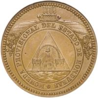 obverse of 2 Pesos (1862) coin with KM# Pn2 from Honduras.