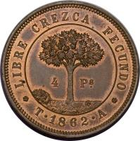 reverse of 4 Pesos (1862) coin with KM# Pn3 from Honduras.