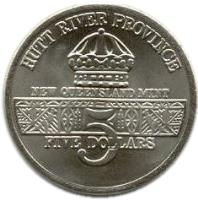 obverse of 5 Dollars - Leonard I - U.S. Coast Guard Support (1991) coin with X# 66 from Hutt River. Inscription: HUTT RIVER PROVINCE NEW QUEENSLAND MINT 5 FIVE DOLLARS