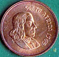 obverse of 1 Cent - SOUTH AFRICA (1965 - 1969) coin with KM# 65.1 from South Africa. Inscription: SOUTH AFRICA 1967 T.S.