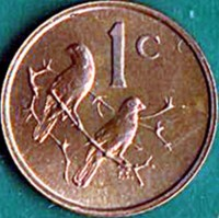 reverse of 1 Cent - SOUTH AFRICA (1965 - 1969) coin with KM# 65.1 from South Africa. Inscription: 1c