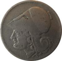 obverse of 2 Drachmai (1926) coin with KM# 70 from Greece. Inscription: GILLIERON FILS