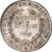 reverse of 12 Carlini - Joachim Murat (1809 - 1810) coin with KM# 250 from Italian States.