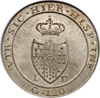 reverse of 120 Grana - Ferdinando IV (1805) coin with KM# 247 from Italian States.