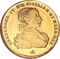 obverse of 6 Ducati - Ferdinando IV (1759) coin with KM# 167 from Italian States.