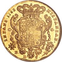 reverse of 6 Ducati - Ferdinando IV (1759) coin with KM# 167 from Italian States.