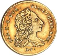 obverse of 6 Ducati - Carlos III (1749 - 1755) coin with KM# 153 from Italian States. Inscription: CAR · D · G · VTR · SIC · ET · HIER · REX DeG ·