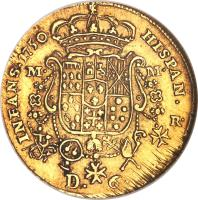 reverse of 6 Ducati - Carlos III (1749 - 1755) coin with KM# 153 from Italian States. Inscription: INFANS 1750 HISPAN R M M D. 6
