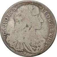 obverse of 1 Tari - Carlos II (1688 - 1689) coin with KM# 113 from Italian States. Inscription: CAROLVS II D G REX HISP