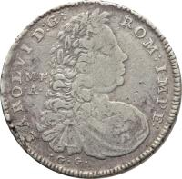 obverse of 60 Grana - Karl VI (1730) coin with KM# 142 from Italian States. Inscription: CAROLVI D:G: ROM:IMPE: M · F. · A · · G · G ·
